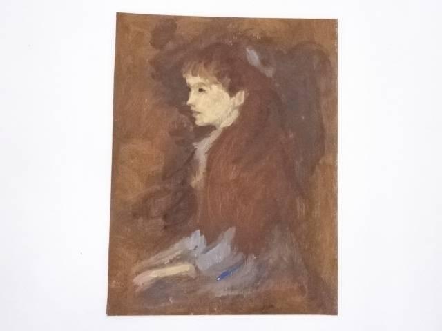 【アンティーク】絵画 ピエール=オーギュスト・ルノワール 「女の肖像」 テンペラ画【送料無料】