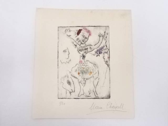 【アンティーク】絵画 マルク・シャガール 銅版画 1/20【送料無料】