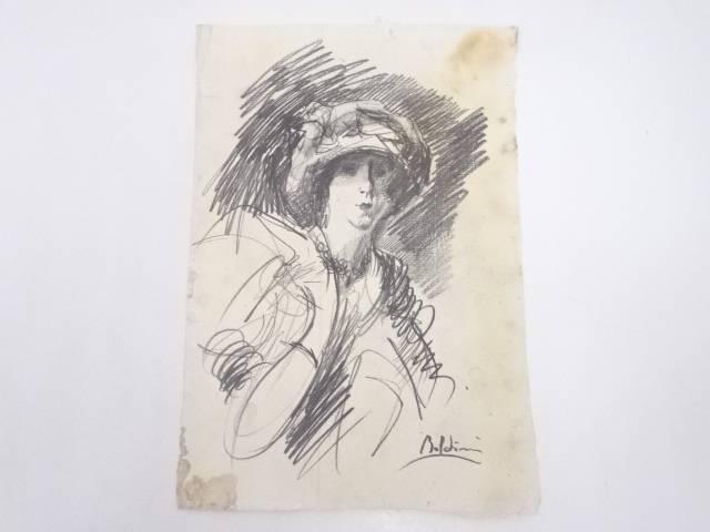 【アンティーク】絵画 ジョヴァンニ・ボルディーニ 鉛筆画【送料無料】