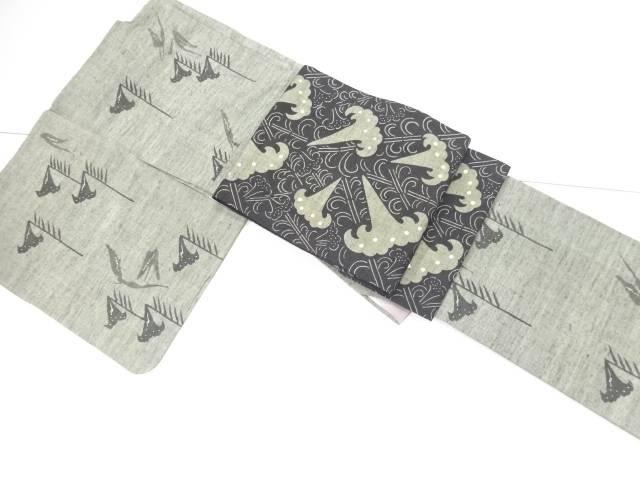 未使用品 仕立て上がり 百合模様手織り真綿紬付下げ着物・名古屋帯セット【送料無料】