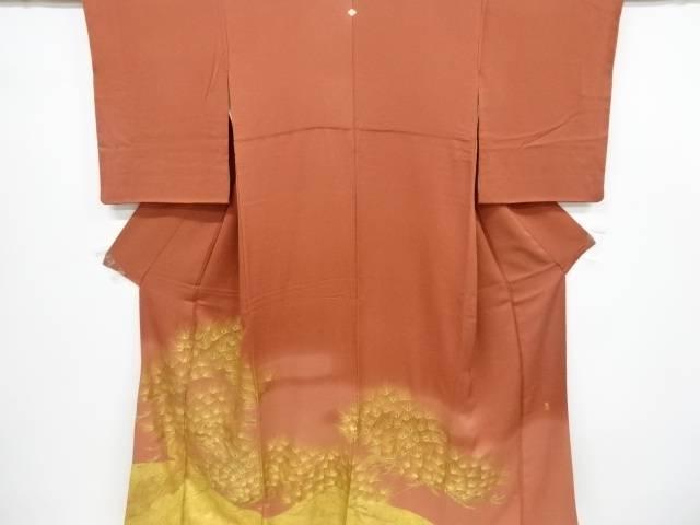 リサイクル 作家物 箔置き松模様一つ紋色留袖【送料無料】