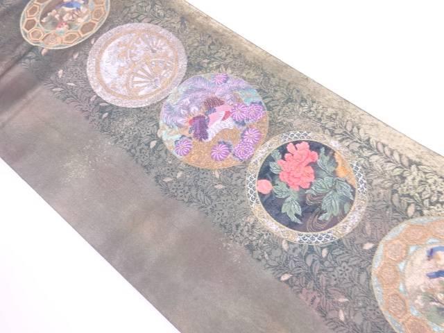 【歳末セール!40%オフ!】リサイクル 引箔丸文に花鳥模様織出し袋帯【送料無料】