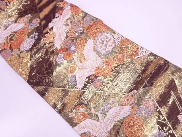 リサイクル 切嵌風牡丹に菊・鶴模様織出し袋帯【送料無料】