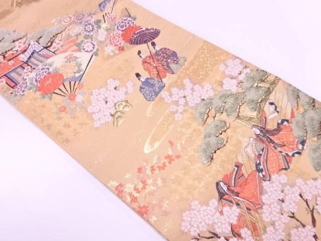 リサイクル 時代人物に松梅・御所車模様織出し袋帯【送料無料】
