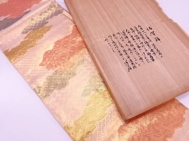 リサイクル 佐賀錦雲模様織出し袋帯【送料無料】
