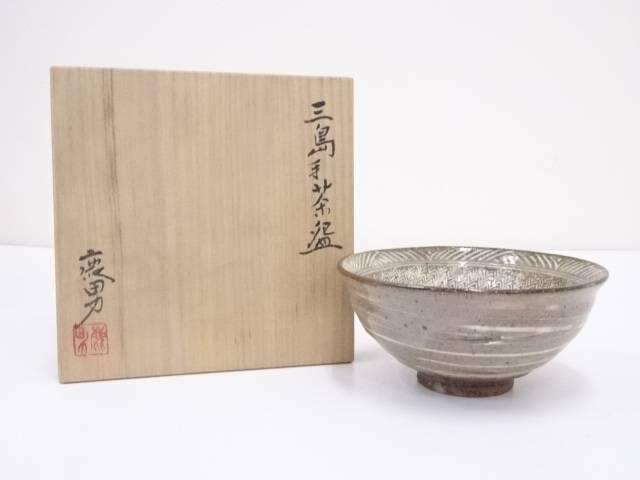 【茶道具】金田鹿男造 三島手茶碗【送料無料】