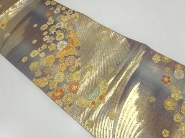 リサイクル 花に蝶模様暈し袋帯【送料無料】