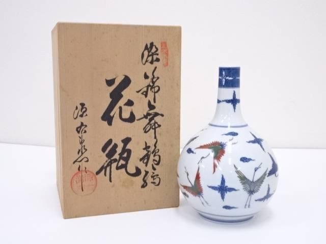 【バレンタインセール50%オフ!】【華道】源焼 染錦舞鶴絵花瓶【送料無料】