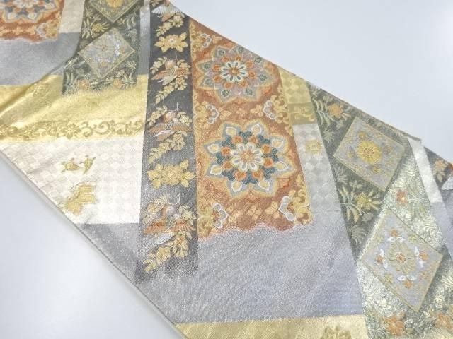 リサイクル 金銀糸華紋に花喰い鳥模様織り出し袋帯【送料無料】