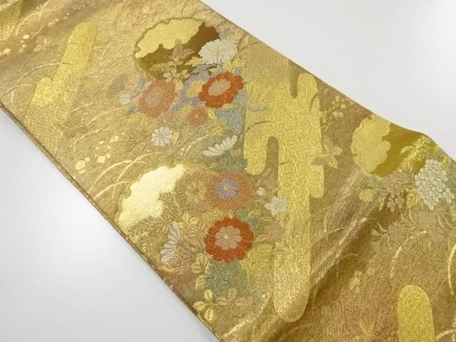 リサイクル 未使用品 金糸雪輪に花模様織り出し袋帯【送料無料】
