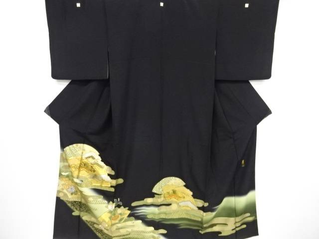 リサイクル 板東八十助 金彩地紙・笠松・菊・橘模様刺繍留袖(比翼付き)【送料無料】