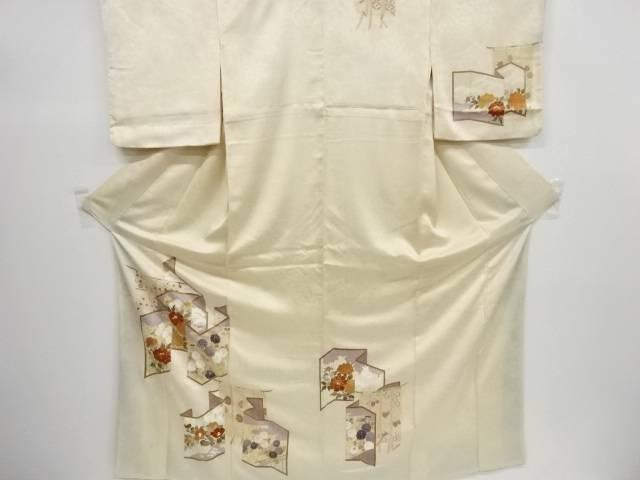 リサイクル 金彩屏風に花模様刺繍一つ紋訪問着【送料無料】