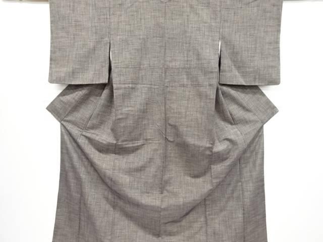 リサイクル 格子織り出し手織り節紬着物【送料無料】