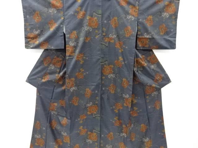リサイクル 枝花模様織り出し本場泥大島紬着物(5マルキ)【送料無料】
