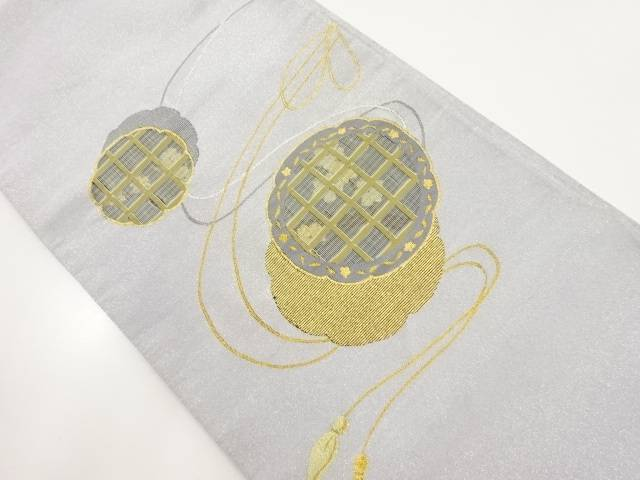リサイクル 本綴れ鏡裏に格子・花模様織り出し袋帯【送料無料】
