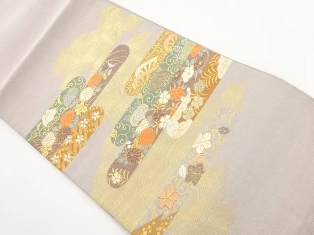 リサイクル 綴れヱ霞に菊・楓・唐草模様織り出し袋帯【送料無料】