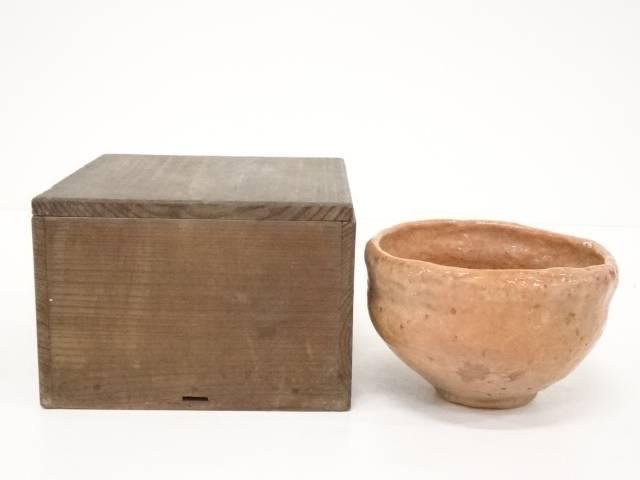 【茶道具】江戸中期 家元自作赤楽茶碗 □p【送料無料】