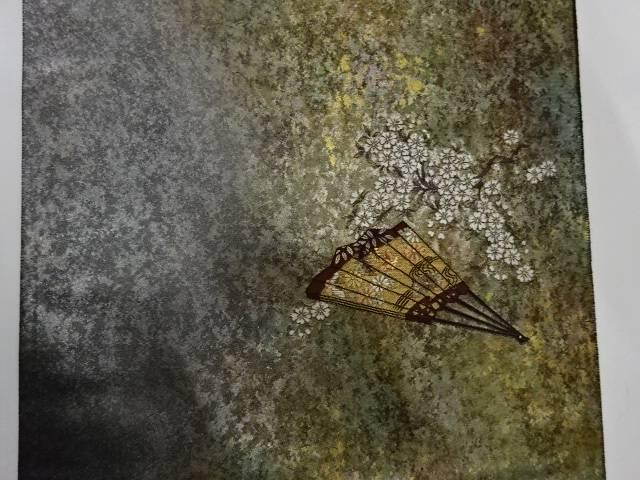 梅雨セール35 オフリサイクル 押田和男製 引箔扇に草花模様織出し袋帯 送料無料uXkiPZ