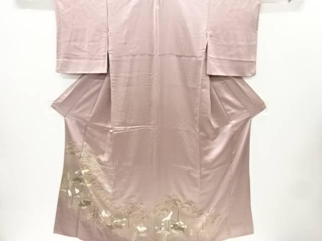リサイクル 金彩蛇籠に松林群鶴模様刺繍一つ紋色留袖【送料無料】