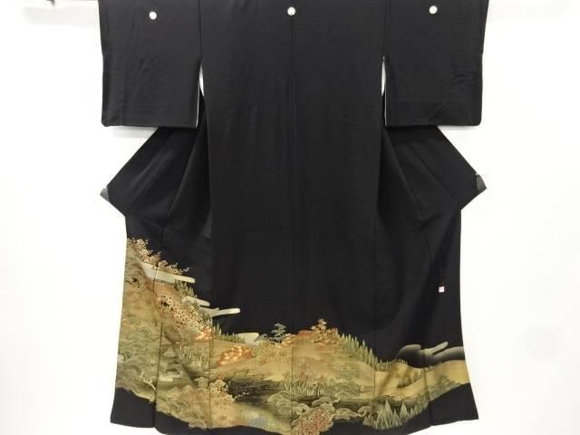 リサイクル 作家物 箔置き庭園風景模様留袖(比翼付き)【送料無料】