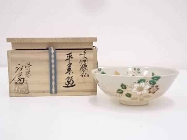 【茶道具】京焼 押小路窯 庄左衛門造 色絵鉄仙平茶碗【送料無料】