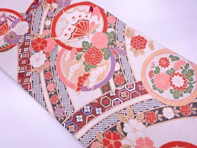 リサイクル 丸紋に草花・蝶模様織出し袋帯【送料無料】