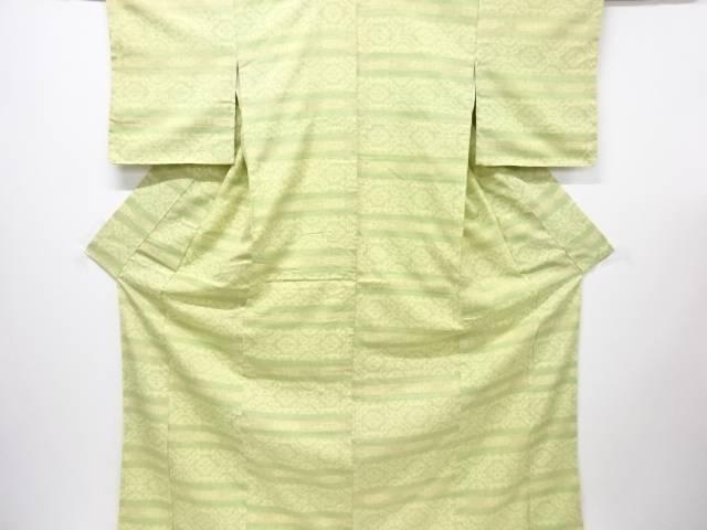 リサイクル 未使用品 重要無形文化財本場結城紬100亀甲横段に幾何学模様織り出し着物【送料無料】
