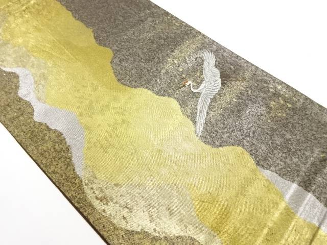 リサイクル 引箔よろけ縞に鶴模様織出し袋帯【送料無料】