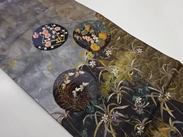 リサイクル 波に草花模様織出し袋帯【送料無料】