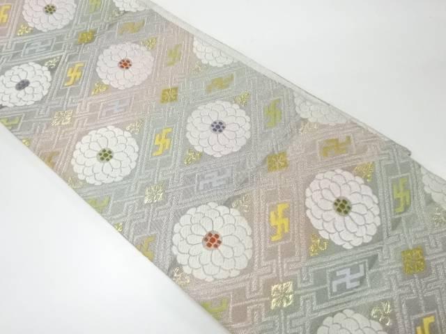 リサイクル 純白金変わり菱に花模様織出し袋帯【送料無料】