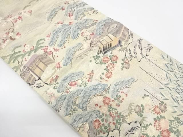 リサイクル 純金箔家屋風景模様織出し袋帯【送料無料】