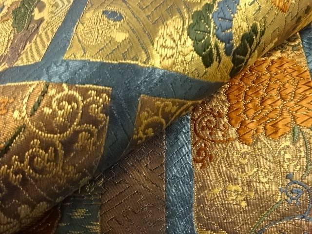 梅雨セール35 オフリサイクル 本金縞に花鳥更紗模様織り出し袋帯 送料無料sChxtrdQ