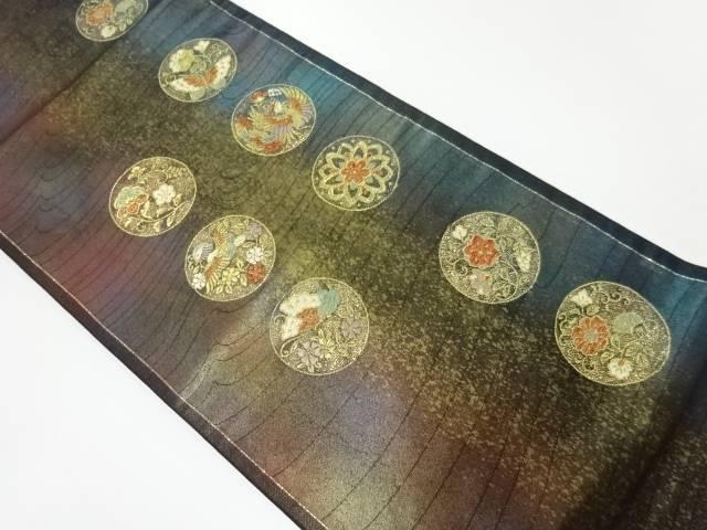 七夕セール35 オフリサイクル 丸紋に花鳥・蝶模様織出し袋帯 送料無料SpGqzMUV