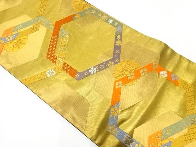 リサイクル 亀甲に菊唐草・青海波模様織出し袋帯【送料無料】