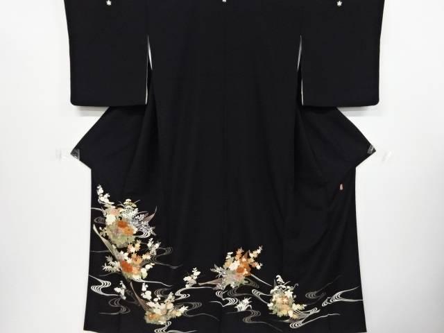 七夕セール35 オフリサイクル 作家物 手描き友禅流水に花扇模様刺繍留袖 比翼付き送料無料nkPw0O