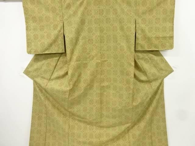 梅雨セール35 オフリサイクル 未使用品 蜀江に花模様織り出し手織り紬着物 送料無料eE2IWD9HbY