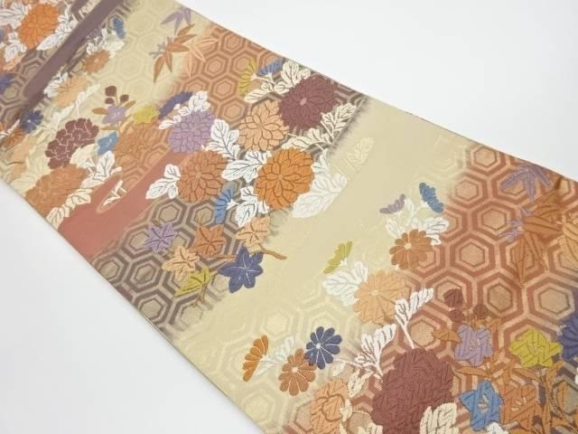 茶道具 着物 送料無料 リサイクル 霞に亀甲 草花模様織出し袋帯 おしゃれ かわいい 和服 和装 アウトレット 帯 限定価格セール きもの