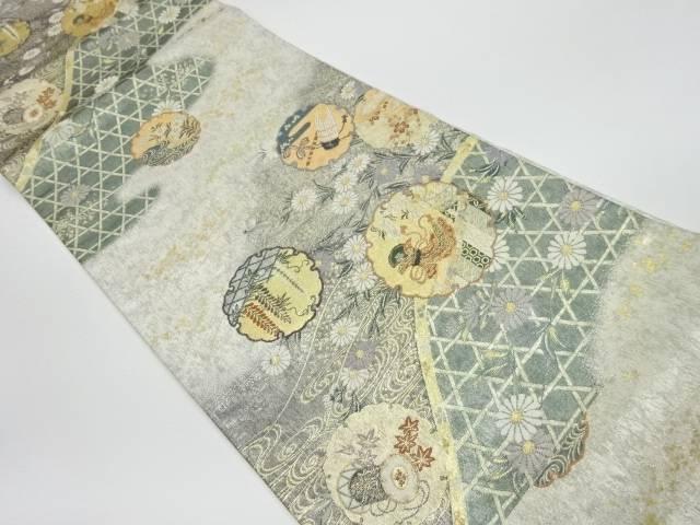 茶道具 低価格化 着物 送料無料 リサイクル 王朝雪輪垣根織出し袋帯 和服 35%OFF おしゃれ かわいい 帯 きもの 和装