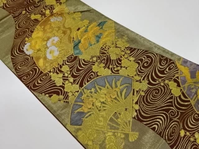 茶道具 着物 送料無料 定番スタイル リサイクル 流水に梅 扇 草花模様織出し袋帯 おしゃれ きもの 帯 和服 かわいい スピード対応 全国送料無料 和装