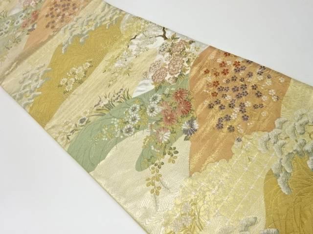 茶道具 特価 着物 送料無料 リサイクル 華衣山並みに花々模様織出し袋帯 和服 帯 ストアー きもの おしゃれ 和装 かわいい