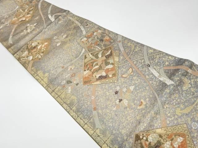 茶道具 超人気 着物 送料無料 リサイクル 正規品送料無料 引箔色紙に花々模様織出し袋帯
