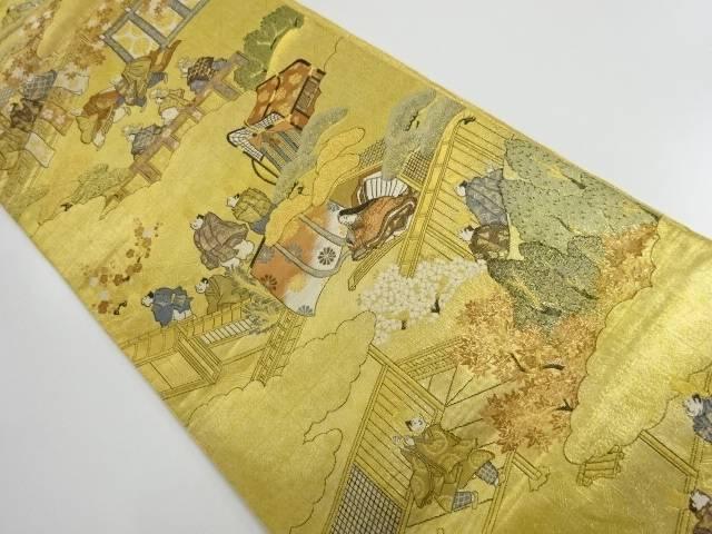 茶道具 着物 送料無料 リサイクル 返品不可 本金二重箔源氏物語絵図織り出し袋帯 人気