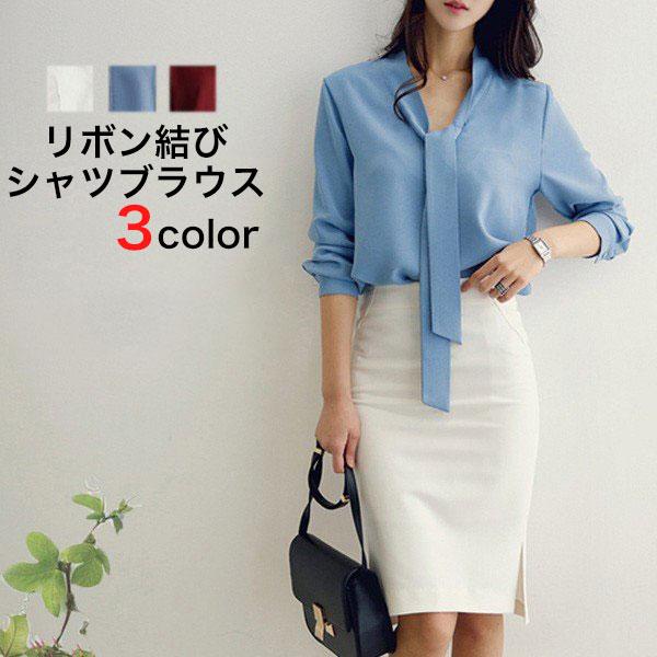 6ee43688d8346 楽天市場 レディースファッション OL通勤正装 リボン結び シャツ ...