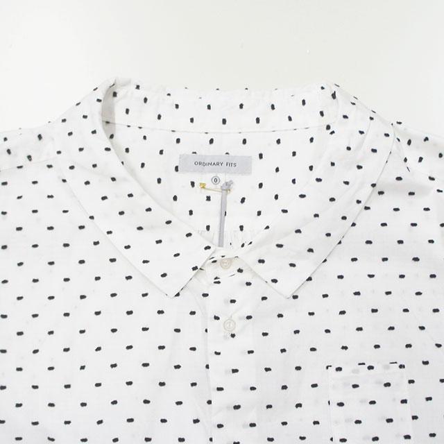ORDINARY FITS オーディナリーフィッツ BARBER SHIRT dot レディース シャツ ブラウス 7分袖 ドット 水玉 ゆったり