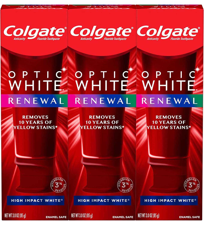 歯磨きで歯を白く 送料無料 3個セット コルゲートオプティック ホワイトリニューアル 全店販売中 歯 ホワイトニング歯磨き粉 ハイインパクトホワイト- Colgate Optic High Renewal Impact NEW White 3パック