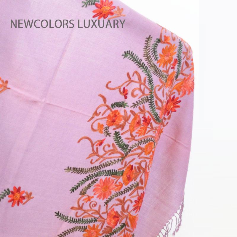 ゴージャス手刺繍インド製 パシュミナ カシミール刺繍入ストール ウール 100% ショール ラベンダー