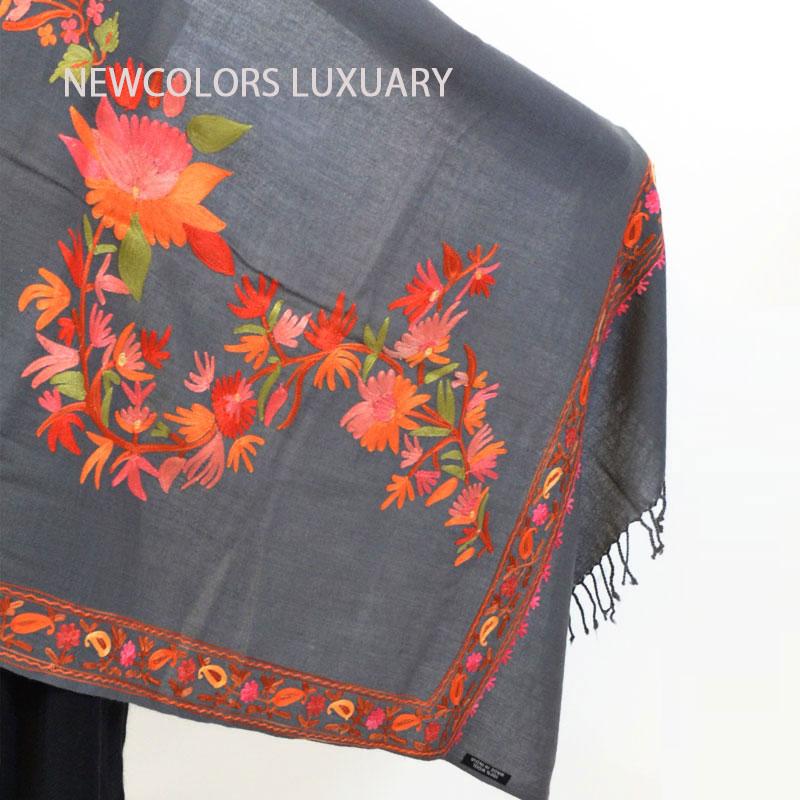ゴージャス手刺繍インド製 パシュミナ カシミール刺繍入ストール ウール 100% ショール グレー