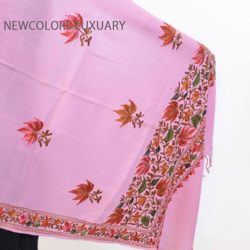 ゴージャス手刺繍インド製 パシュミナ カシミール刺繍入ストール ウール 100% ショール ピンク