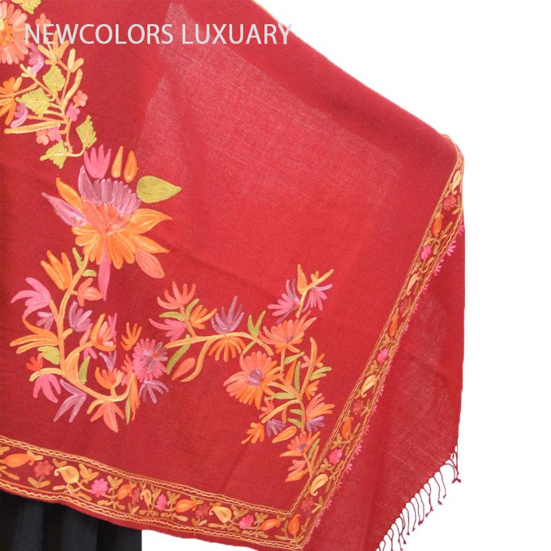 ゴージャス手刺繍インド製 パシュミナ カシミール刺繍入ストール ウール 100% ショール レッド