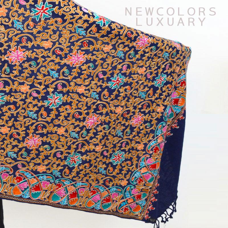 ゴージャス手刺繍インド製 パシュミナ カシミール刺繍入ストール ウール 100% ショール ネイビー